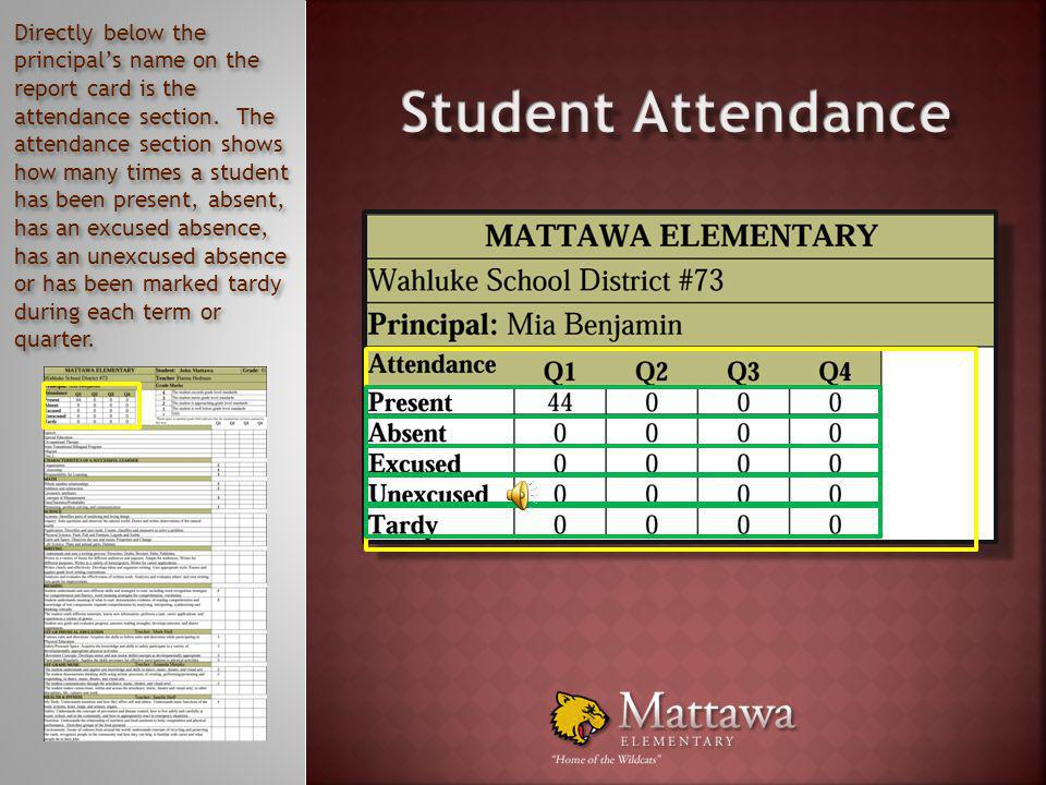 Below the top section of the new standards based report card you will find the Attendance section and the Grade Marks section. First, we will take a c