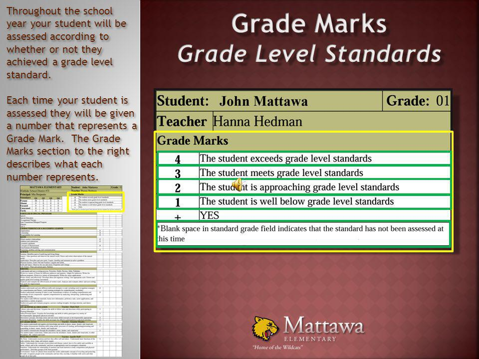 To the right of the Attendance section of the report card you will find the Grade Marks section. In this section is the key showing you what each Grad