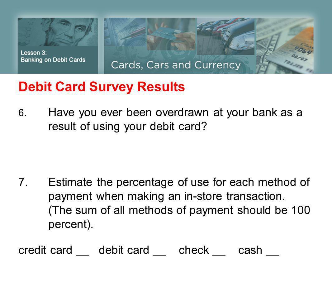 Debit Card Survey Results 6.