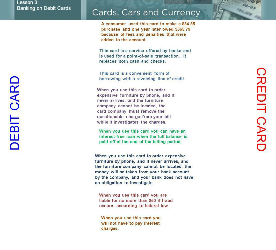 DEBIT CARD CREDIT CARD This card is a service offered by banks and is used for a point-of-sale transaction.