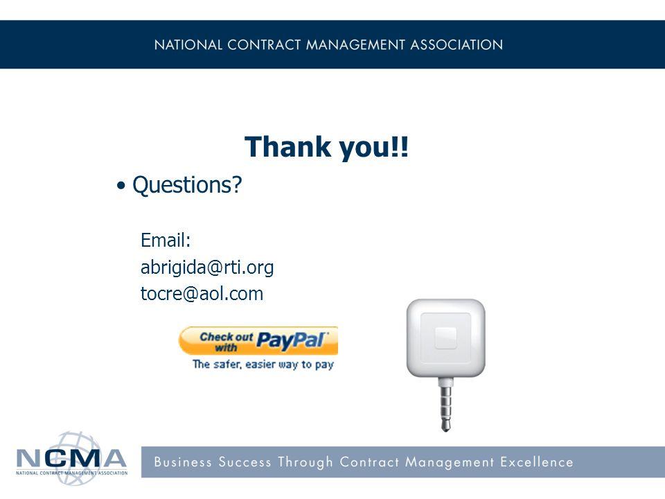 19 Thank you!! Questions Email: abrigida@rti.org tocre@aol.com