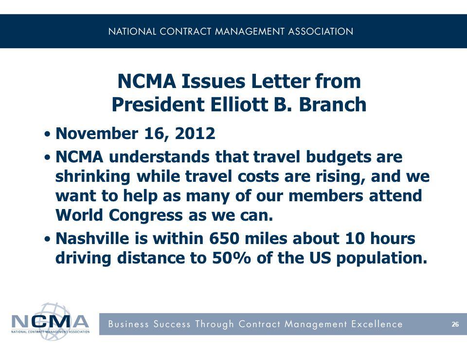 26 NCMA Issues Letter from President Elliott B.