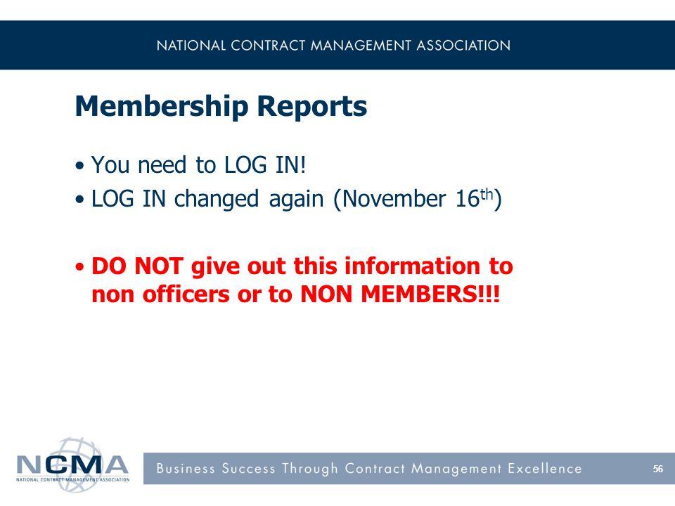 Membership Reports You need to LOG IN.