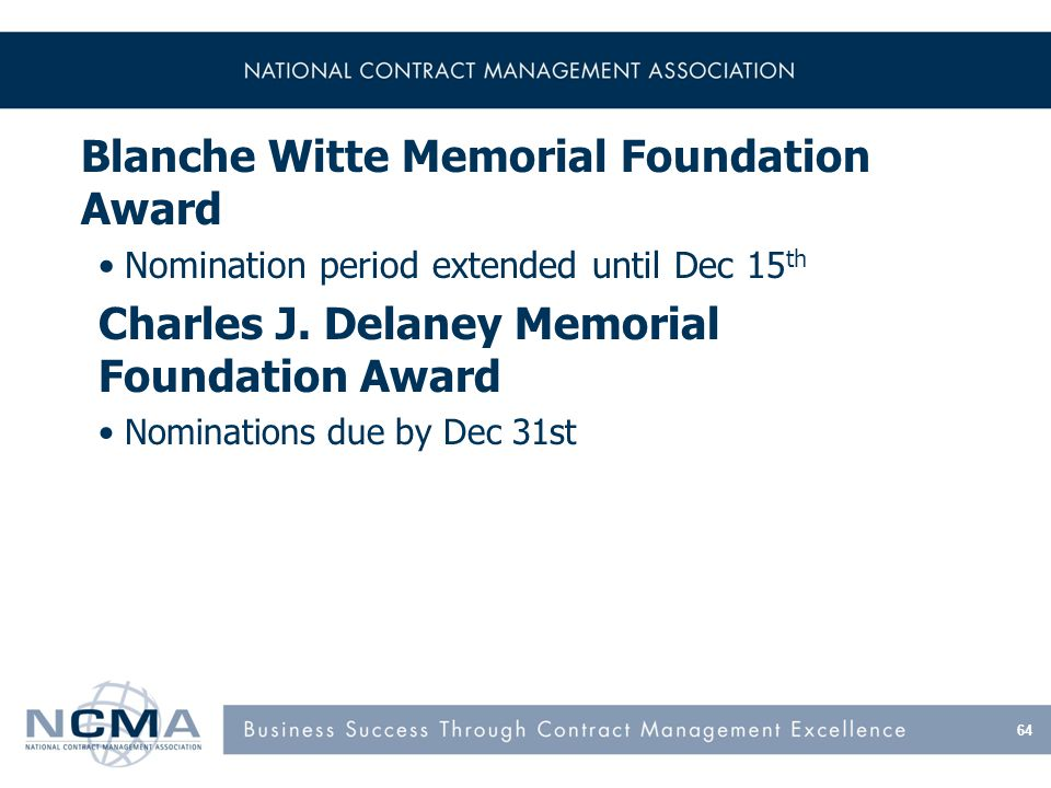 Blanche Witte Memorial Foundation Award Nomination period extended until Dec 15 th Charles J.