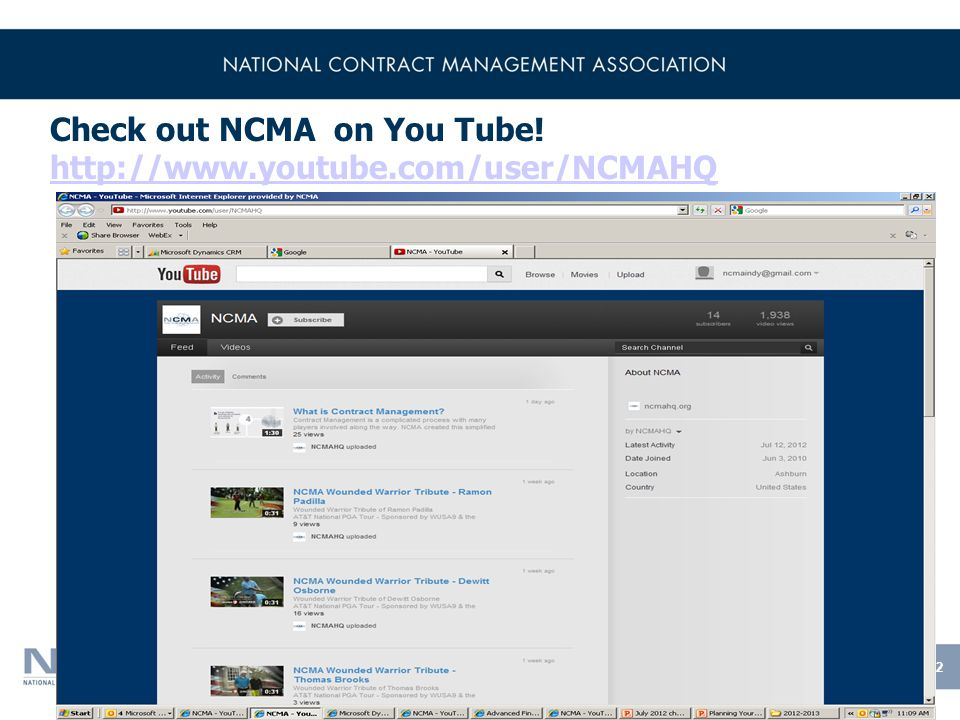 Check out NCMA on You Tube.