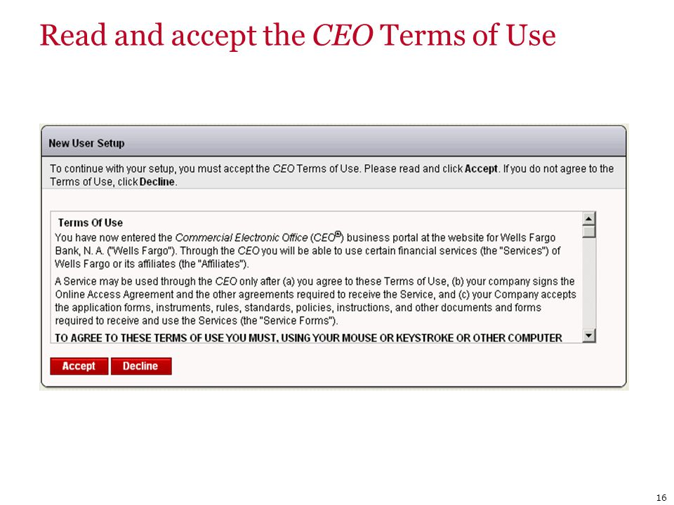 16 Read and accept the CEO Terms of Use