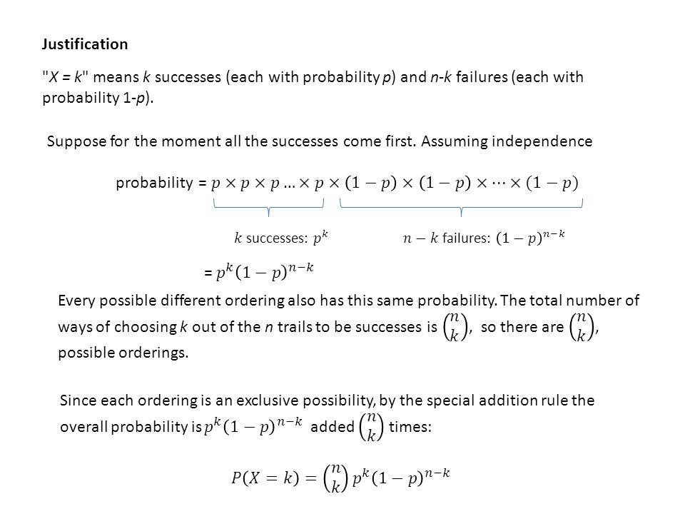 X = k means k successes (each with probability p) and n-k failures (each with probability 1-p).
