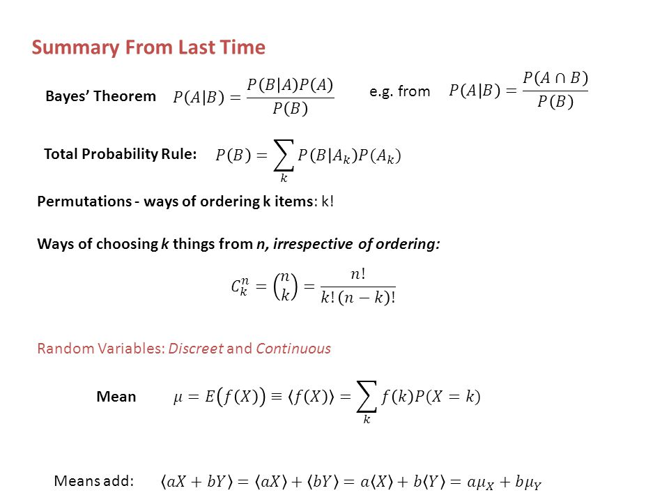 Summary From Last Time Permutations - ways of ordering k items: k.