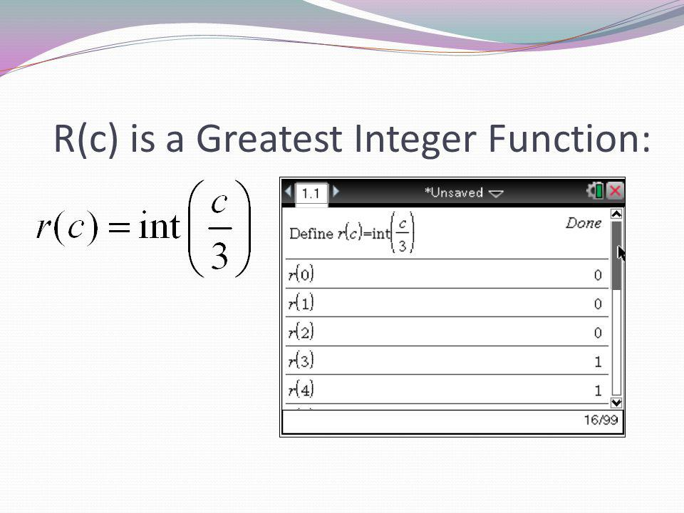 R(c) is a Greatest Integer Function: