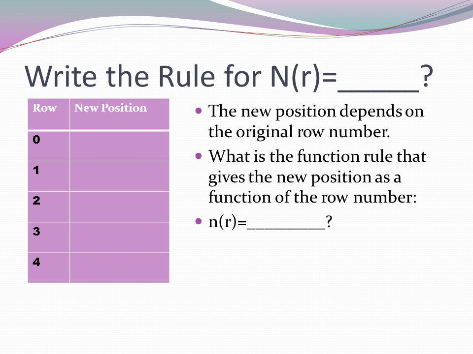 Write the Rule for N(r)=_____. The new position depends on the original row number.