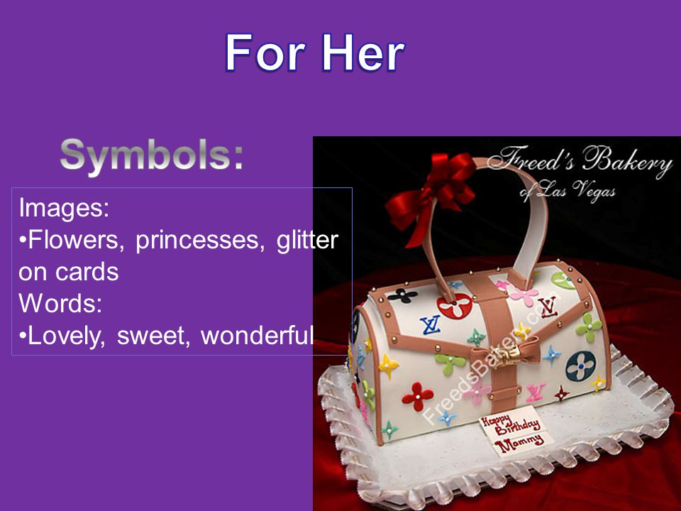 Images: Flowers, princesses, glitter on cards Words: Lovely, sweet, wonderful