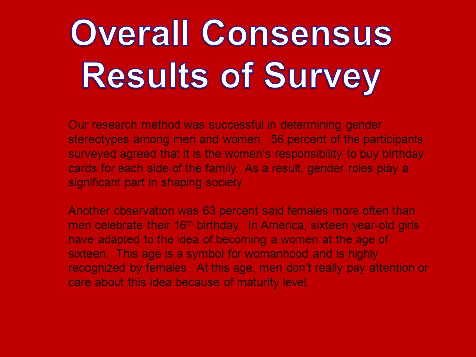 Our research method was successful in determining gender stereotypes among men and women.