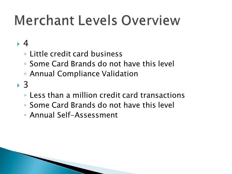 4 Little credit card business Some Card Brands do not have this level Annual Compliance Validation 3 Less than a million credit card transactions Some Card Brands do not have this level Annual Self-Assessment