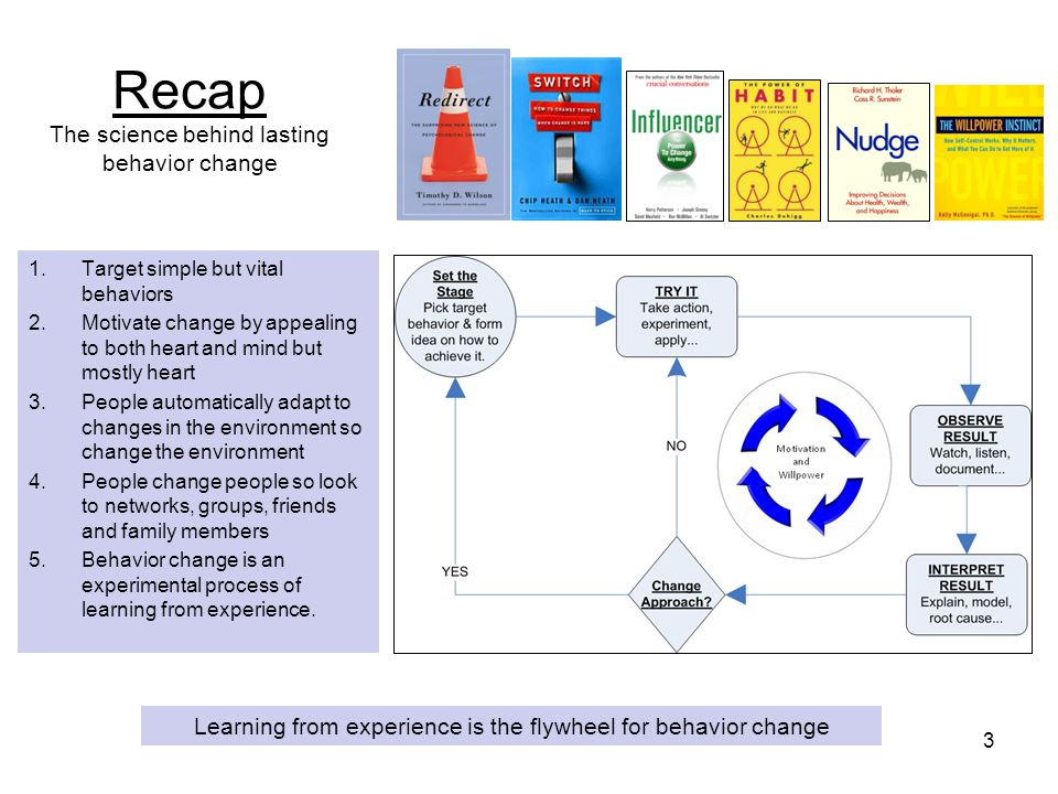 Recap The science behind lasting behavior change 1.Target simple but vital behaviors 2.Motivate change by appealing to both heart and mind but mostly heart 3.People automatically adapt to changes in the environment so change the environment 4.People change people so look to networks, groups, friends and family members 5.Behavior change is an experimental process of learning from experience.