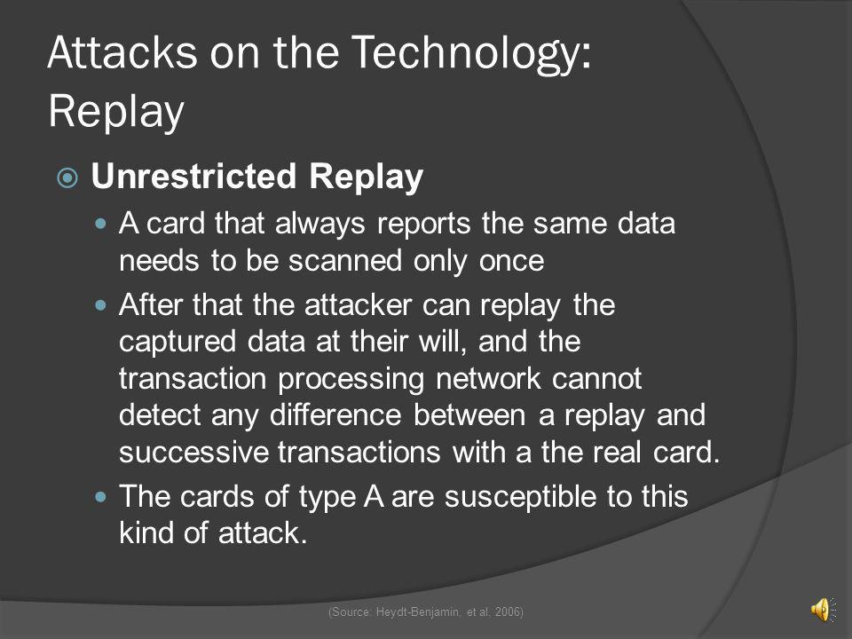 Attacks on the Technology Eavesdropping Attack Eavesdropping attacks are accomplished by having a reader record the data that is streamed between the