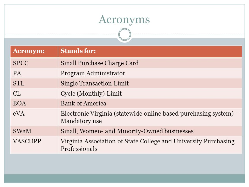 Acronyms Acronym:Stands for: SPCCSmall Purchase Charge Card PAProgram Administrator STLSingle Transaction Limit CLCycle (Monthly) Limit BOABank of Ame