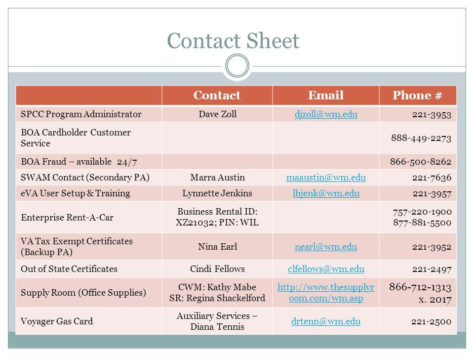 Contact Sheet ContactEmailPhone # SPCC Program AdministratorDave Zolldjzoll@wm.edu221-3953 BOA Cardholder Customer Service 888-449-2273 BOA Fraud – av