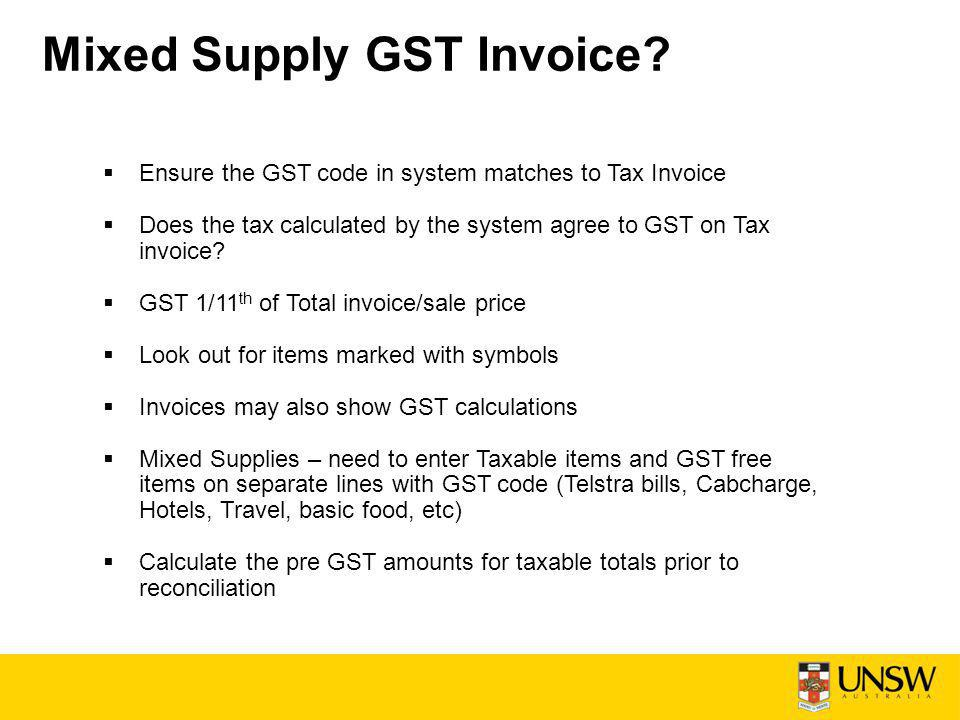 Mixed Supply GST Invoice.