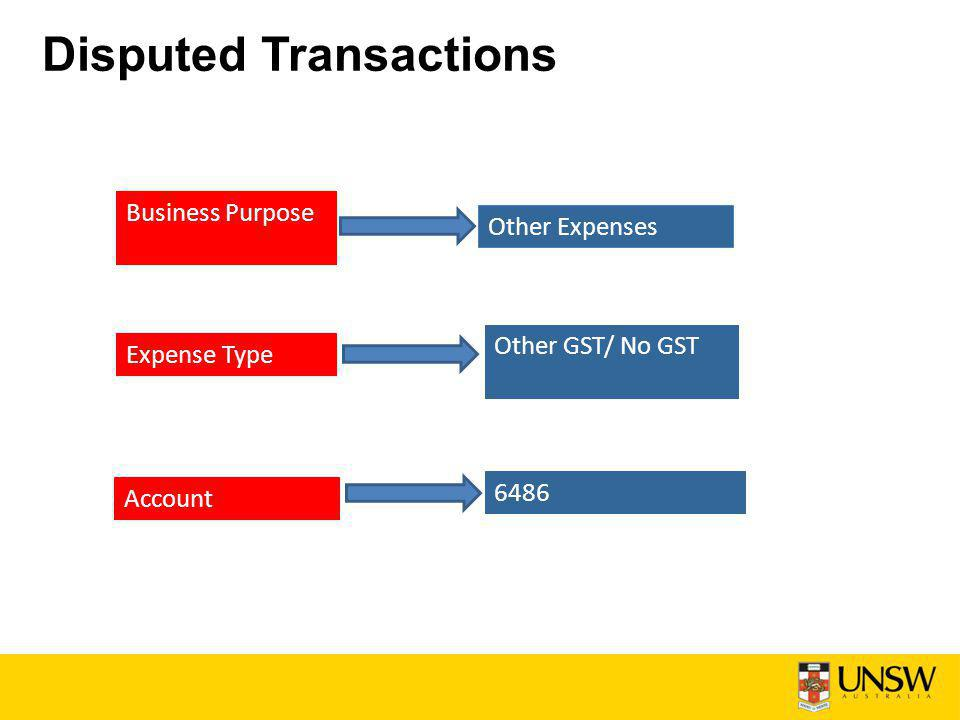 Disputed Transactions Business Purpose Other Expenses Expense Type Other GST/ No GST Account 6486