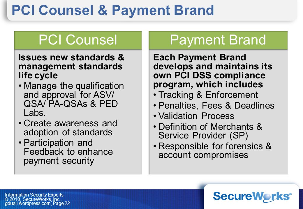 Information Security Experts © 2010, SecureWorks, Inc.. gdusil.wordpress.com, Page 22 Each Payment Brand develops and maintains its own PCI DSS compli