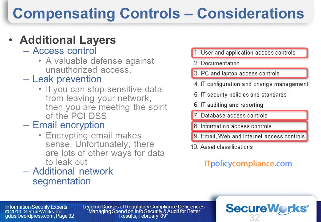 Information Security Experts © 2010, SecureWorks, Inc.. gdusil.wordpress.com, Page 32 Compensating Controls – Considerations Additional Layers –Access