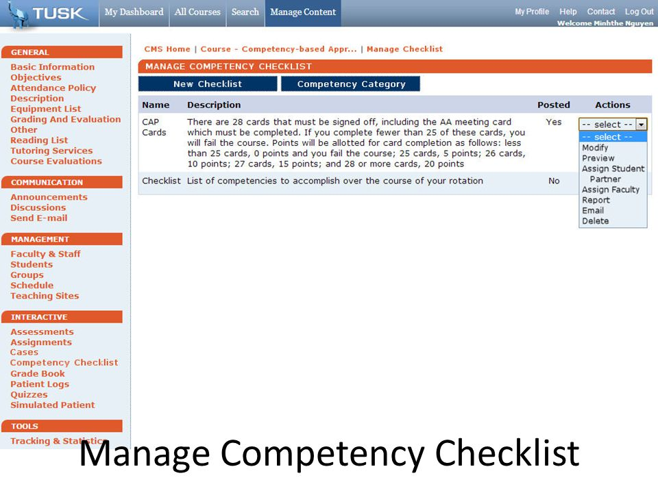 Manage Competency Checklist