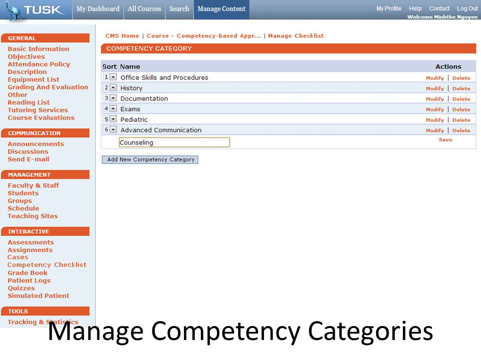 Manage Competency Categories