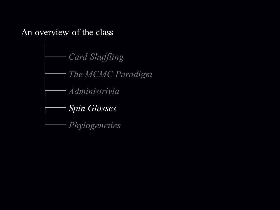 An overview of the class Card Shuffling The MCMC Paradigm Administrivia Spin Glasses Phylogenetics