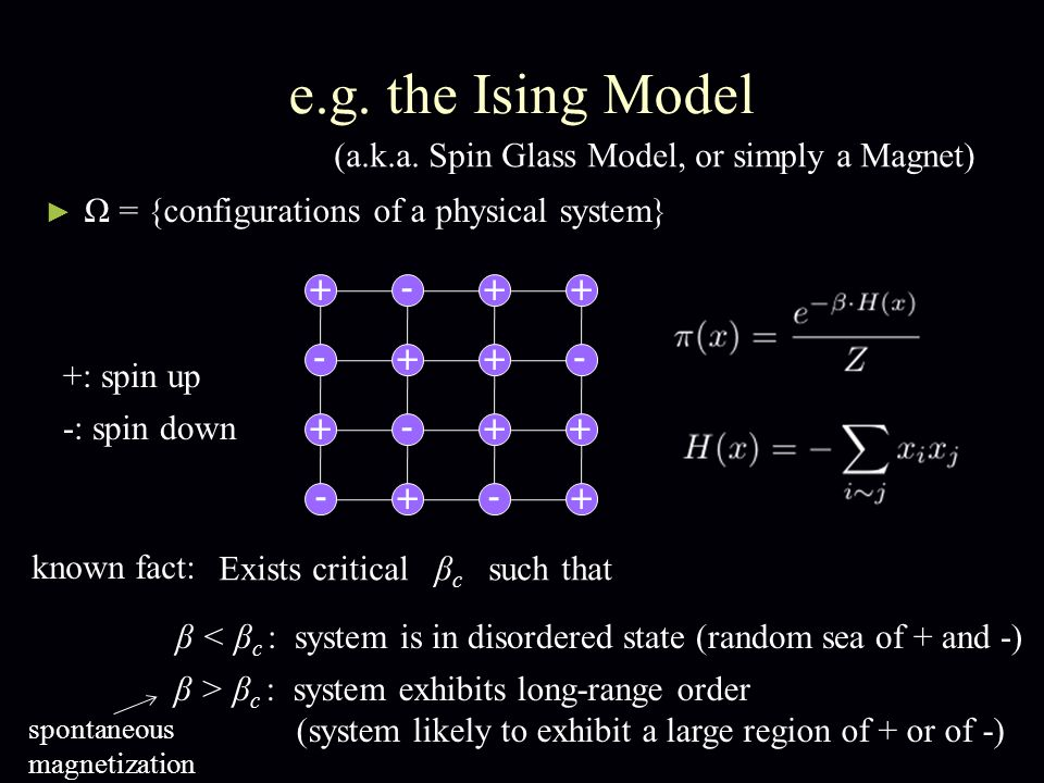 e.g. the Ising Model Ω = {configurations of a physical system} + + - - + - - + + ++ - ++ -+ (a.k.a.