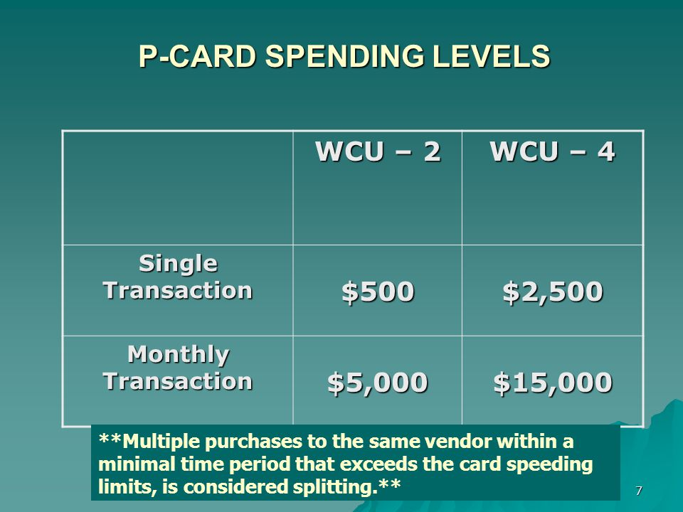 7 P-CARD SPENDING LEVELS P-CARD SPENDING LEVELS WCU – 2 WCU – 4 Single Transaction $500$2,500 Monthly Transaction $5,000$15,000 **Multiple purchases to the same vendor within a minimal time period that exceeds the card speeding limits, is considered splitting.**