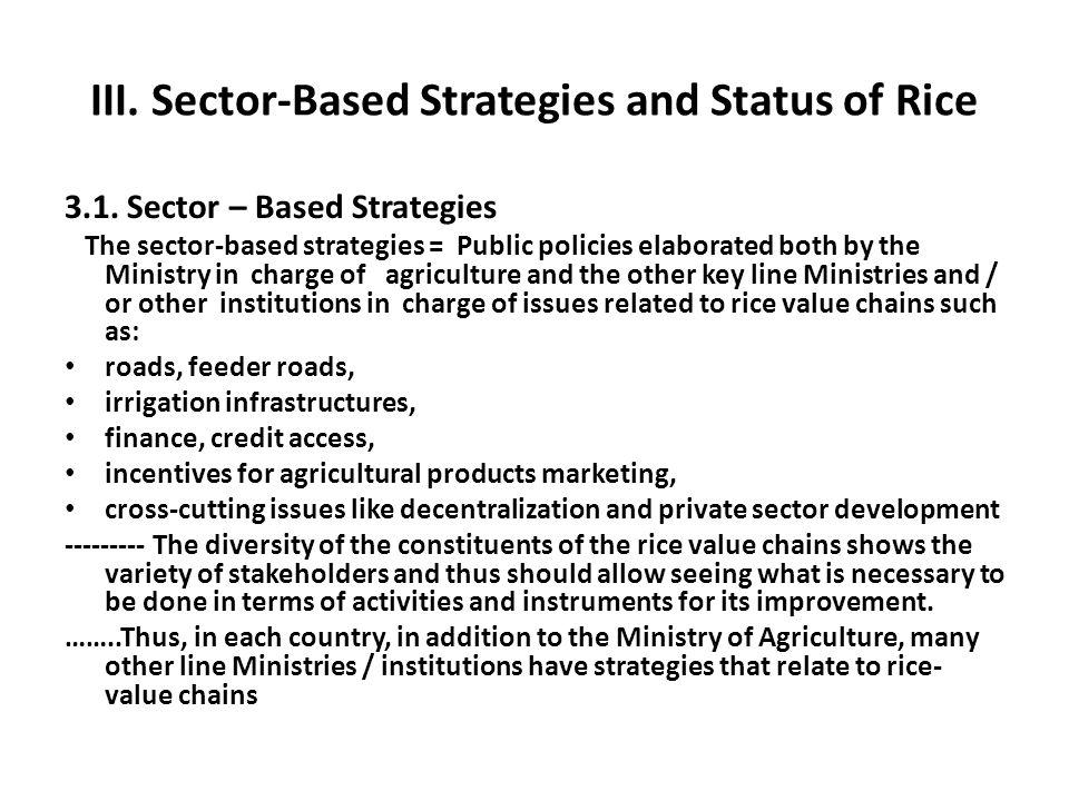 III. Sector-Based Strategies and Status of Rice 3.1. Sector – Based Strategies The sector-based strategies = Public policies elaborated both by the Mi