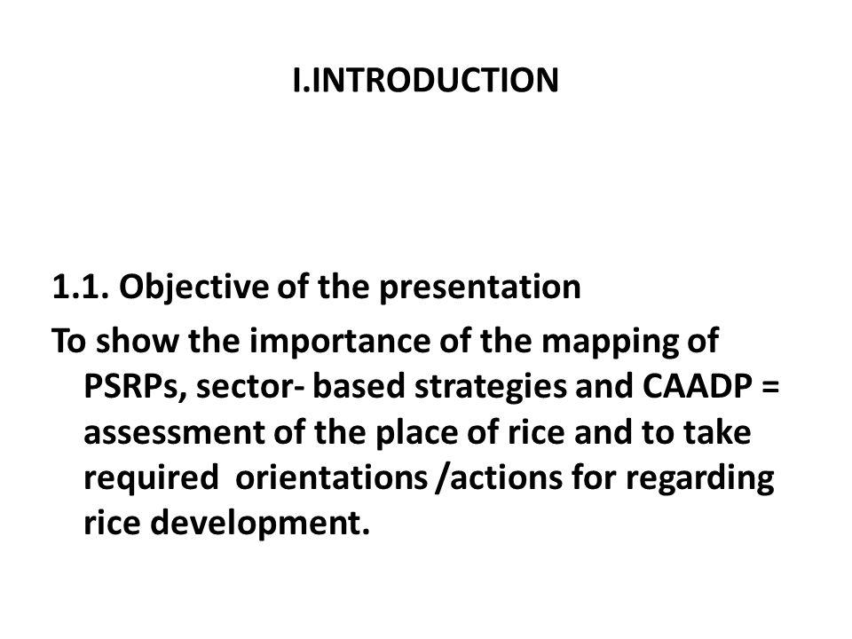 I.INTRODUCTION 1.1. Objective of the presentation To show the importance of the mapping of PSRPs, sector- based strategies and CAADP = assessment of t
