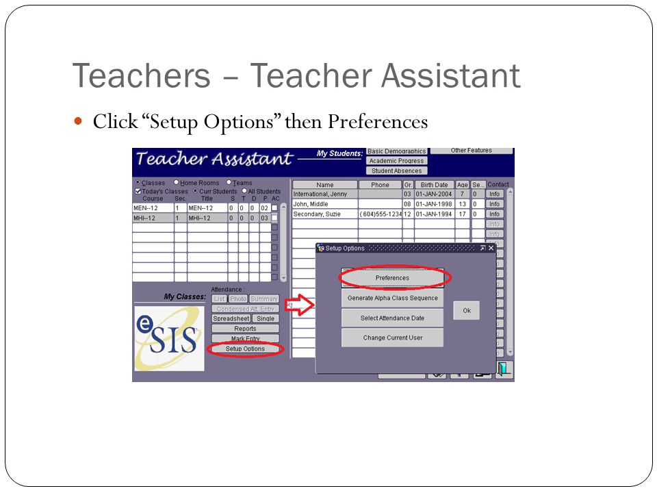 Teachers – Teacher Assistant Click Setup Options then Preferences