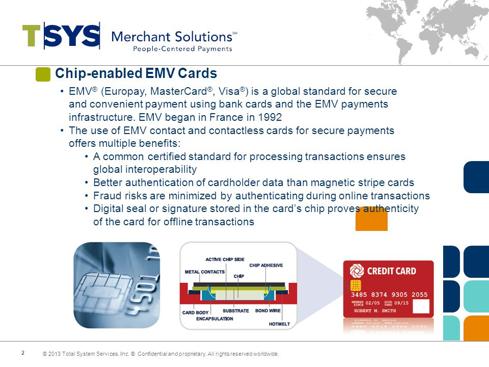 Chip-enabled EMV Cards EMV ® (Europay, MasterCard ®, Visa ® ) is a global standard for secure and convenient payment using bank cards and the EMV payments infrastructure.