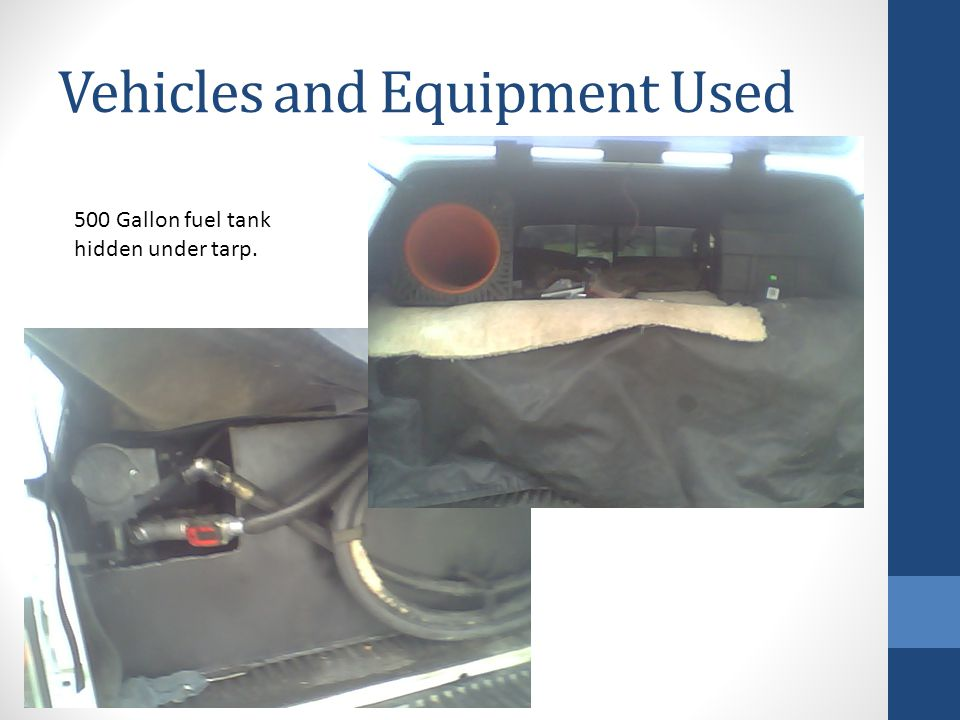 Vehicles and Equipment Used 500 Gallon fuel tank hidden under tarp.