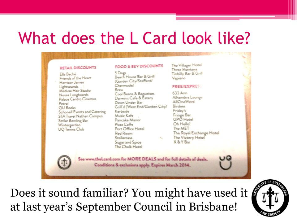 Does it sound familiar You might have used it at last years September Council in Brisbane!