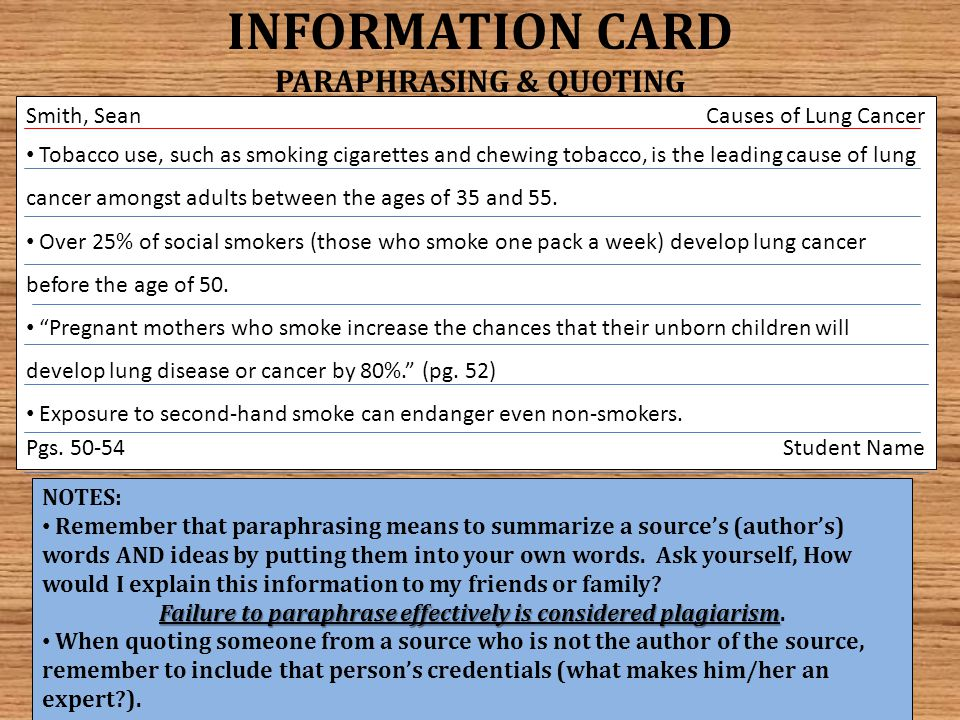 The following slide contains a DETAILED LAYOUT OF NOTECARDS, including SOURCE and INFORMATION CARDS.