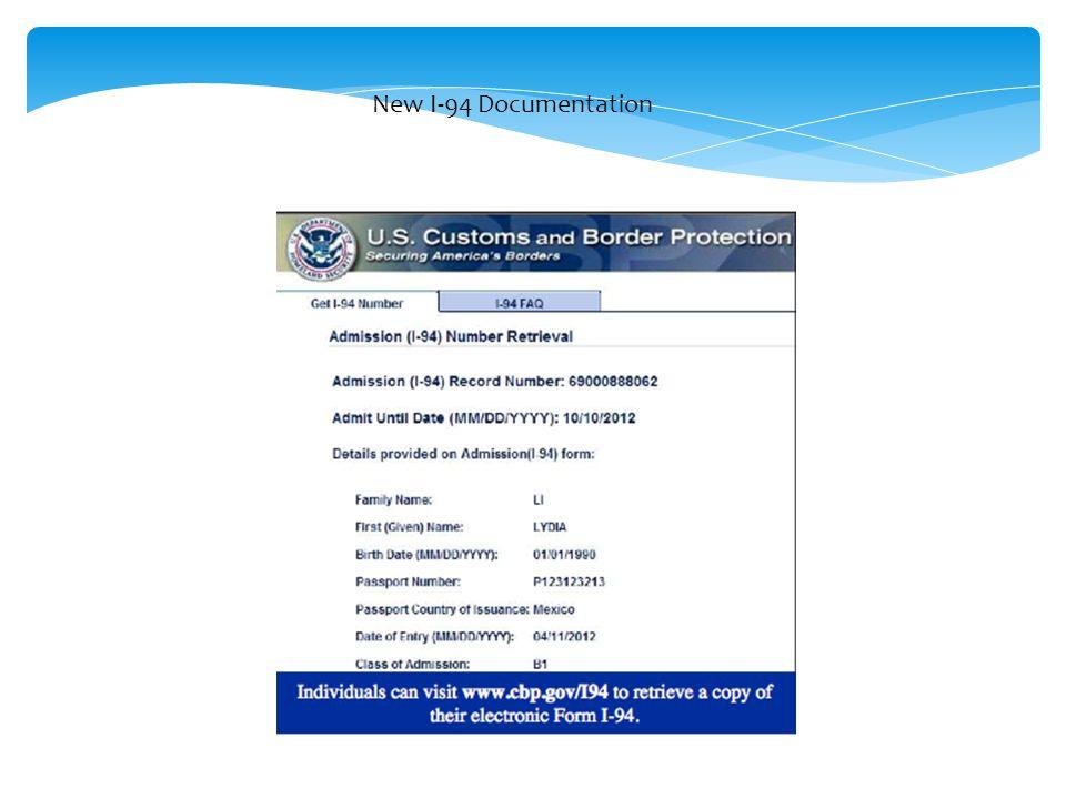 New I-94 Documentation