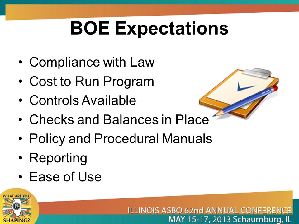 BOE Expectations Compliance with Law Cost to Run Program Controls Available Checks and Balances in Place Policy and Procedural Manuals Reporting Ease of Use