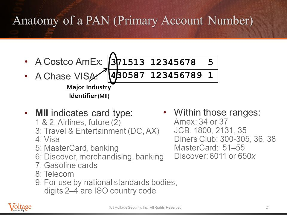 Anatomy of a PAN (Primary Account Number) A Costco AmEx: A Chase VISA: MII indicates card type: 1 & 2: Airlines, future (2) 3: Travel & Entertainment (DC, AX) 4: Visa 5: MasterCard, banking 6: Discover, merchandising, banking 7: Gasoline cards 8: Telecom 9: For use by national standards bodies; digits 2–4 are ISO country code Within those ranges: Amex: 34 or 37 JCB: 1800, 2131, 35 Diners Club: 300-305, 36, 38 MasterCard: 51–55 Discover: 6011 or 650x (C) Voltage Security, Inc.