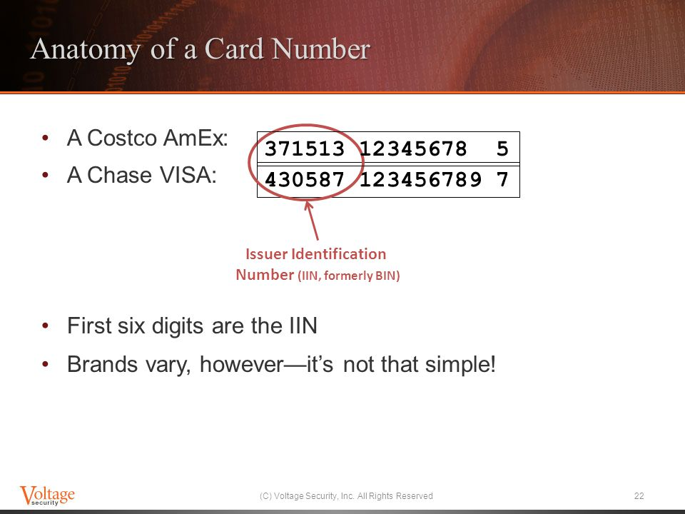 Anatomy of a Card Number A Costco AmEx: A Chase VISA: First six digits are the IIN Brands vary, howeverits not that simple.