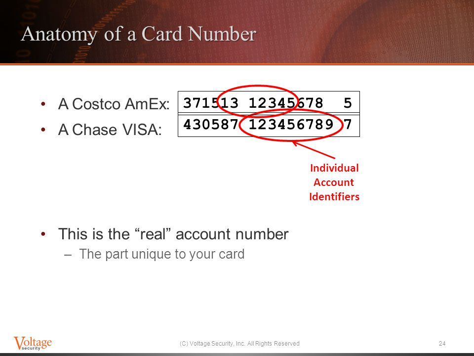 Anatomy of a Card Number A Costco AmEx: A Chase VISA: This is the real account number –The part unique to your card (C) Voltage Security, Inc.