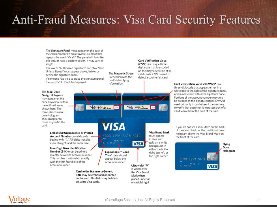 Anti-Fraud Measures: Visa Card Security Features (C) Voltage Security, Inc. All Rights Reserved41