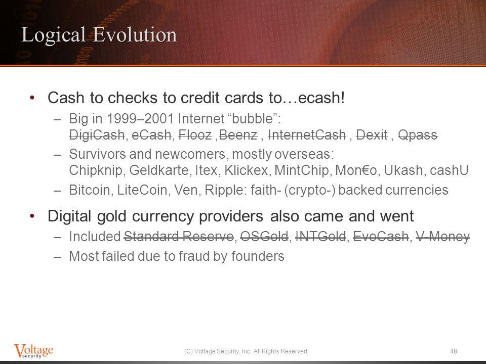 Logical Evolution Cash to checks to credit cards to…ecash.