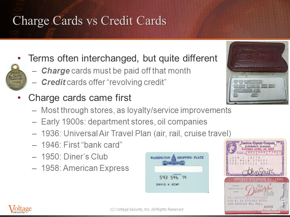 Charge Cards vs Credit Cards Terms often interchanged, but quite different –Charge cards must be paid off that month –Credit cards offer revolving credit Charge cards came first –Most through stores, as loyalty/service improvements –Early 1900s: department stores, oil companies –1936: Universal Air Travel Plan (air, rail, cruise travel) –1946: First bank card –1950: Diners Club –1958: American Express (C) Voltage Security, Inc.