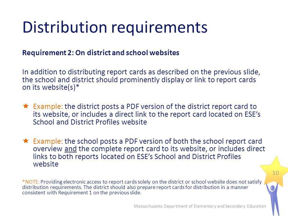 Distribution requirements Requirement 2: On district and school websites In addition to distributing report cards as described on the previous slide,