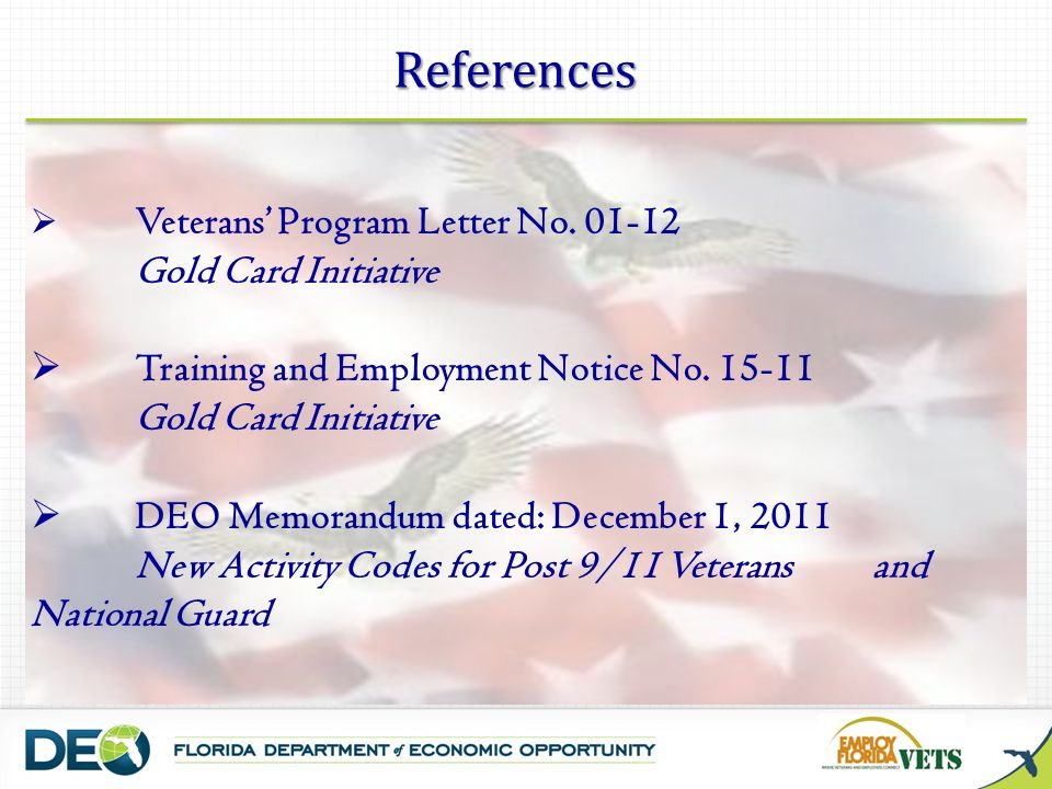 References Veterans Program Letter No.