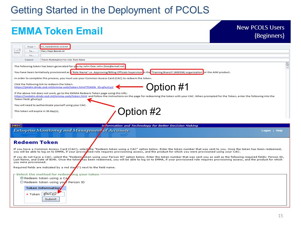 New PCOLS Users (Beginners) Getting Started in the Deployment of PCOLS 15 EMMA Token Email