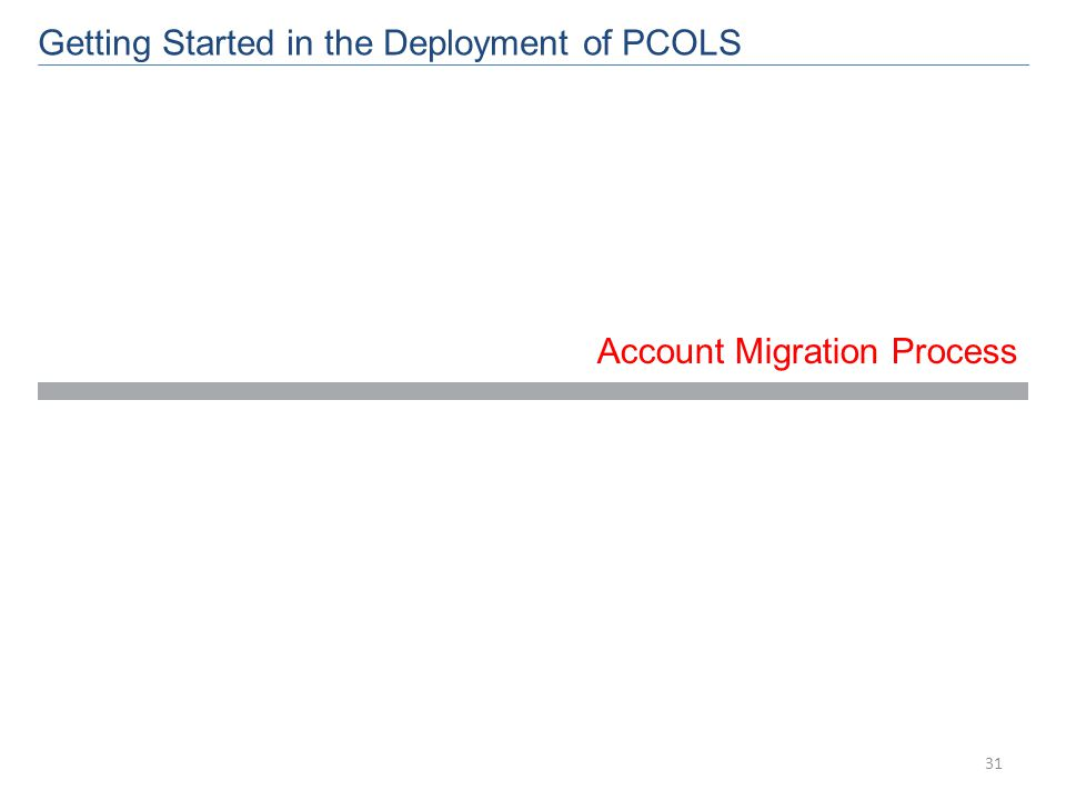 Account Migration Process Getting Started in the Deployment of PCOLS 31