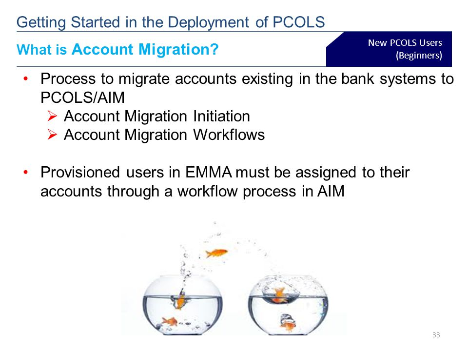 What is Account Migration? New PCOLS Users (Beginners) Process to migrate accounts existing in the bank systems to PCOLS/AIM Account Migration Initiat